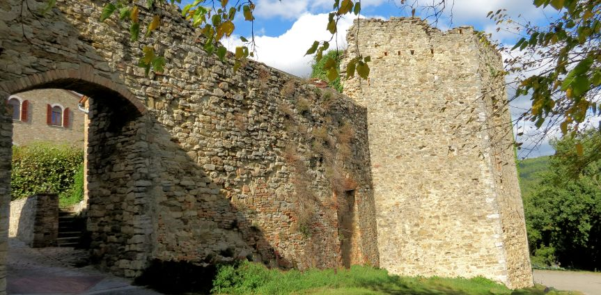 Sturdy tower in medieval hamlet